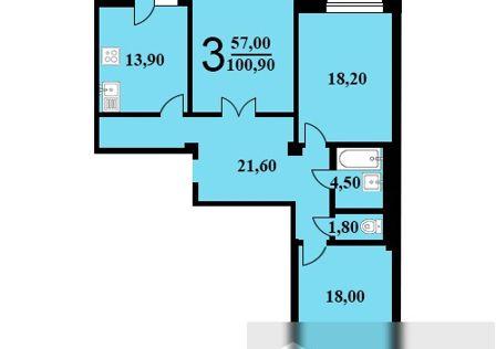 Продаётся 3-комнатная квартира, 100.9 м²