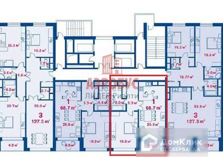 Продаётся 2-комнатная квартира, 65.3 м²