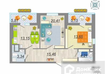 Продаётся 2-комнатная квартира, 75.67 м²