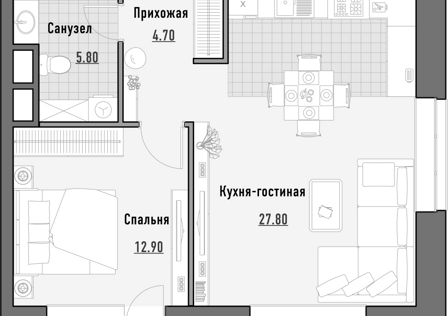 Продаётся 1-комнатная квартира, 51.66 м²