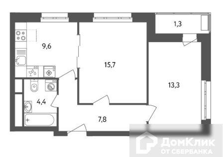 Продаётся 2-комнатная квартира, 52.2 м²