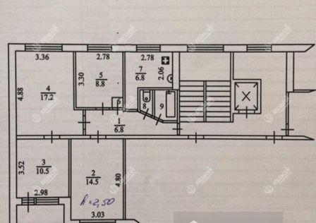 Продаётся 4-комнатная квартира, 68 м²