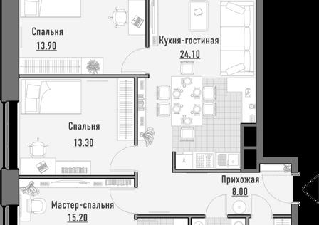 Продаётся 3-комнатная квартира, 86.01 м²