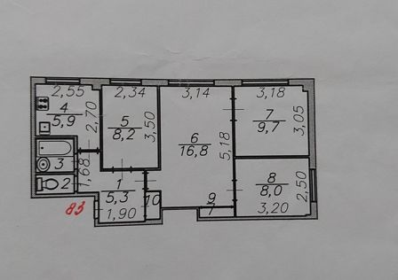 Продаётся 4-комнатная квартира, 58.8 м²