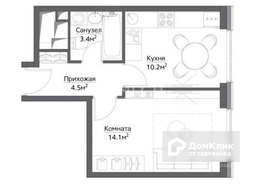 Продаётся 1-комнатная квартира, 33.7 м²